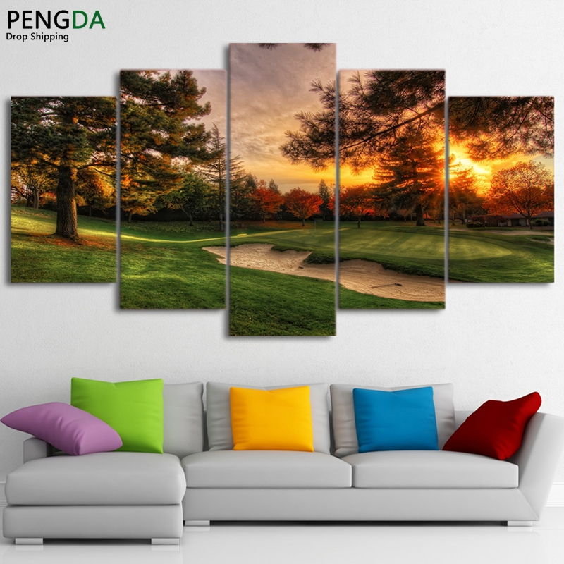 Office Pictures For Walls Golf: Modular Pictures Wall Art Canvas Painting Prints 5 Pieces
