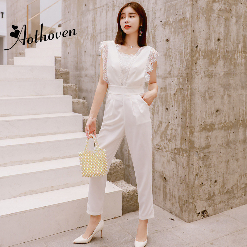 2018 Summer Patchwork Lace Jumpsuits Rompers Women Sleeveless Long Pants Office Lady for Women White Sheath Party Club Jumpsuit