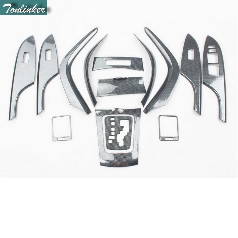 Tonlinker, 14 шт., сделай сам, автомобильный Стайлинг, НОВЫЙ ABS, углеродное волокно, внутренняя панель, покрытие, наклейки для TOYOTA Corolla Altis 2007 12 детал