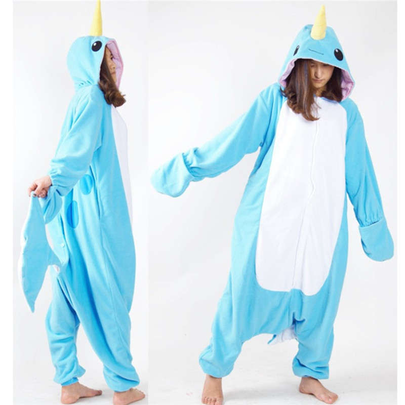 Whale Onesie Dospělí Muži Ženy Halloween Vánoce Karneval Party Fleece Unisex Cosplay Kigurumi Kigu Kostýmy Jumpsuit