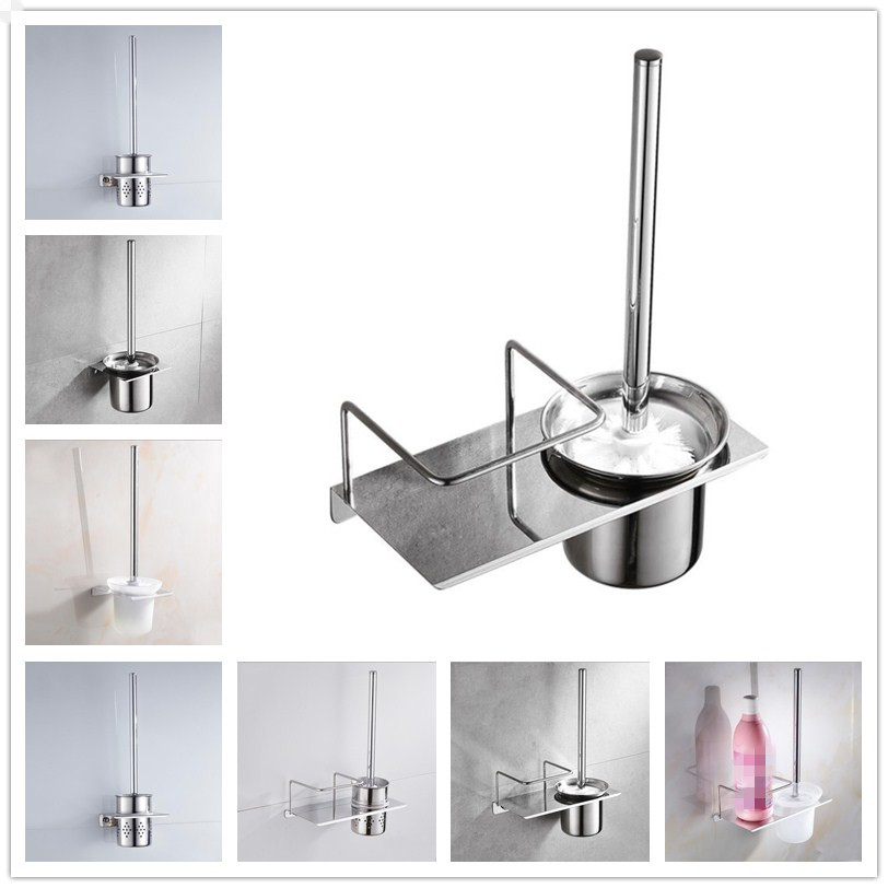 304 Stainless Steel Toilet Brush Set ABS Bathroom Cleaning Brush Head Ventilation / Glass Toilet Cup Wall Hanging Storage Rack
