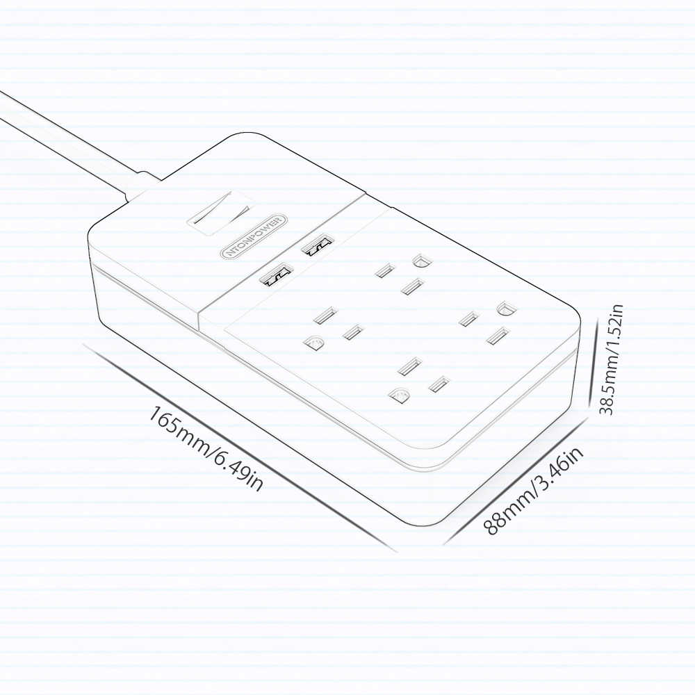 NTONPOWER 4-Outlet inteligentna listwa zasilająca z 2 portami USB przełącznik przeciążeniowy zabezpieczenie przeciwprzepięciowe z 1.5 m przenośne rozszerzenia przewód dla domu