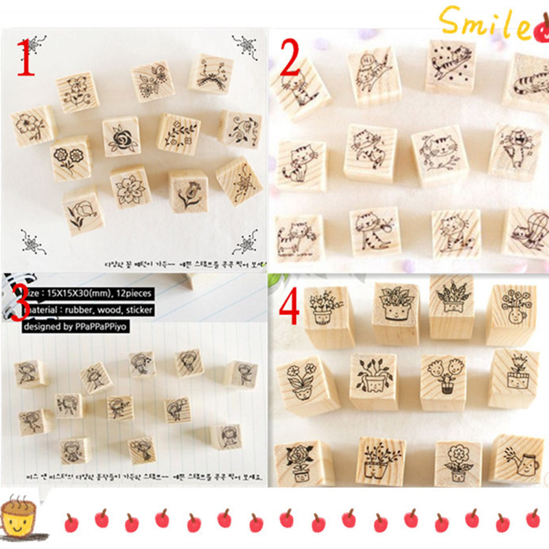 12 pcs lot 1 bag DIY Cute Cartoon Cats Flowers Girls Wood Stamps for Kids Decor Diary Scrapbooking Gift Free shipping 634