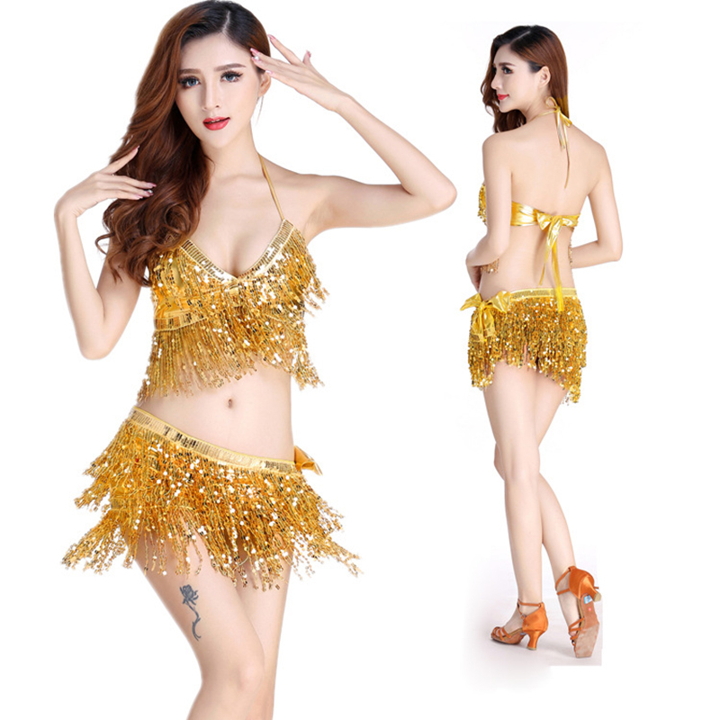 Belly Dance Latin Sequin Halter Top Bra Belt Hip Skirt Set Sexy Party Costume Tassel Temptation Stage Performance Sets 9 Colors
