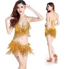 Buikdans Latin Sequin Halter Top Bra Belt Hip Rok Set Sexy Party Kostuum Kwastje Verleiding Stage Performance Sets 9 kleuren