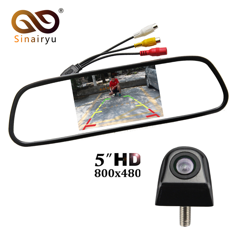 Sinairyu Auto mirror Monitor Car Parking Assistance System 5 inch HD 800*480 TFT LCD Car Monitor With CCD HD Rear View Camera sinairyu hd 800 480 car mirror monitor 5 tft lcd mirror car parking rear view monitor 2 video input connect rear front camera