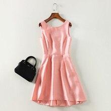 Новый 2017 Весна-осень Мода Женщины Девушки Симпатичные с открытой спиной и бантом повседневные платья без рукавов сплошной цвет розовый синий платья