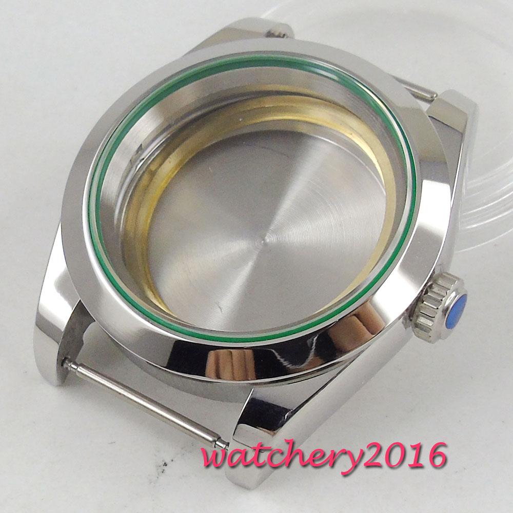 40mm parnis Sapphire Glass Polished Steel Watch Case fit ETA 2836 DG 2813 MingZhu 3804 MIYOTA Movement40mm parnis Sapphire Glass Polished Steel Watch Case fit ETA 2836 DG 2813 MingZhu 3804 MIYOTA Movement