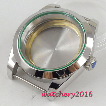 40mm parnis Sapphire Glass Polished Steel Watch Case fit ETA 2836 DG 2813 MingZhu 3804 MIYOTA Movement