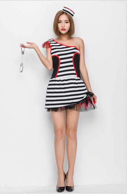 Lovely Prisoner Cosplay Costume Sexy One Shoulder Black And White