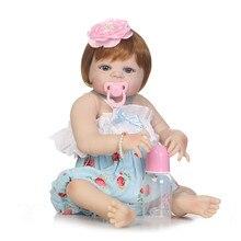Muñecas de bebé reborn de silicona real bebé niña borni. o l muñecas jugar casa juguetes para regalo de niños bebes reborn menina bonecas