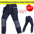 High quality Men's dark blue durable carpener pant cargo pant electrician work trousers work wear free shipping