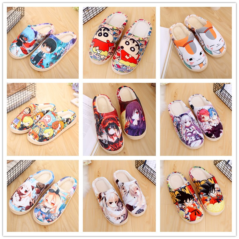 Unisex Lovely Home Slippers Warm Cartoon Anime ONE PIECE Pokemon Warm Shoes Cosplay Cartoon Cotton Slippers Shoes Winter.
