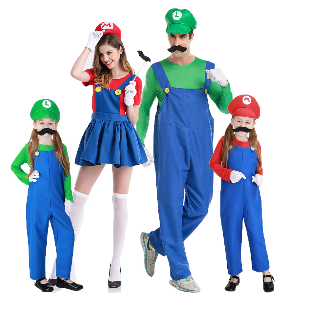 Halloween Party Family Matching Clothes Super Mario Bros Cosplay Costume Set Children Adul