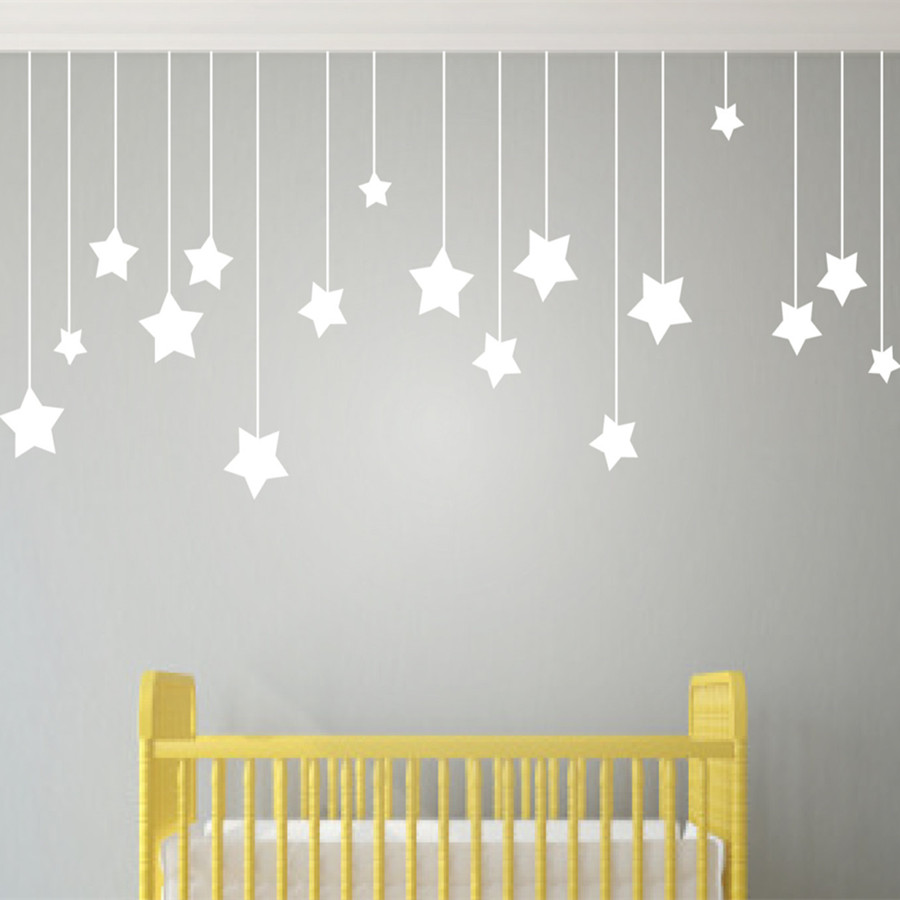 US $9.67 25% OFF|Name Custom Stars and Moon Childrens Wall Art Nursery Baby  Decor Wall Stickers Kindergarten Kids For Bedroom Child T170307-in Wall ...