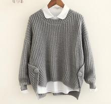 Personalized hem cross button o-neck long sleeve  knitting  pullover sweater  women winter autumn mori girl