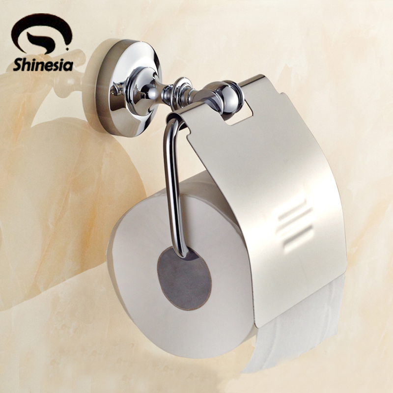 Chrome Polished Bathroom Toilet Paper Holder Solid Brass Bathroom Accessories Wall Mount free shipping high quality bathroom toilet paper holder wall mounted polished chrome