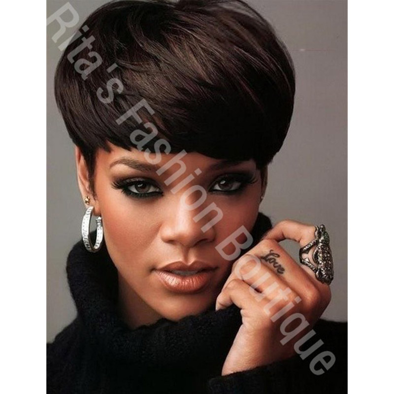 Top Quality Charming Short Straight Hairstyle Rihannas -2332