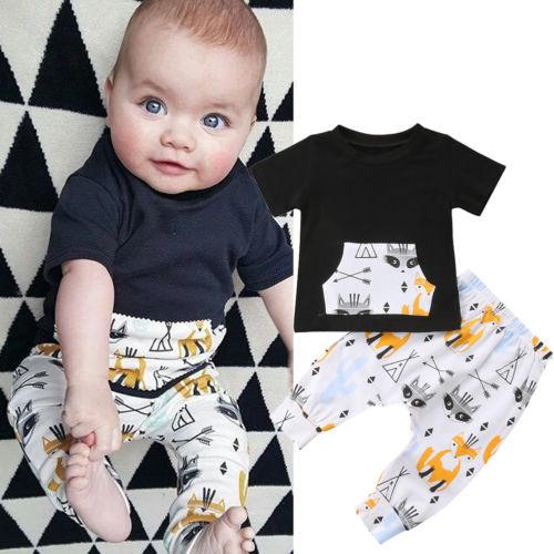 27890132efea7 Summer 2pcs Newborn Infant Baby Boys Clothing Set Cartoon Fox T shirts +Pants  Outfits Baby Boys Clothes Set
