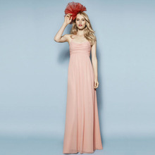Peach Chiffon Bridesmaid Dresses 2015 Sashes Elegant Draped Tiered vestidos de festa vestido longo Vestido defesta