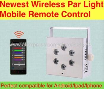 8 unids/lote... nueva llegada Control remoto móvil 6x10 w RGBW 4IN1 o 6x12 w RGBWA lavado/UV 5in1 LED inalámbrico batería Par luz DMX