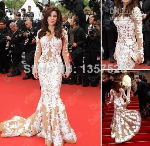 Amazing Champagne and Ivory Top Selling Inspirde by Jennifer Mermaid Sheer Long Sleeve Appliques Embellished Evening Dresses