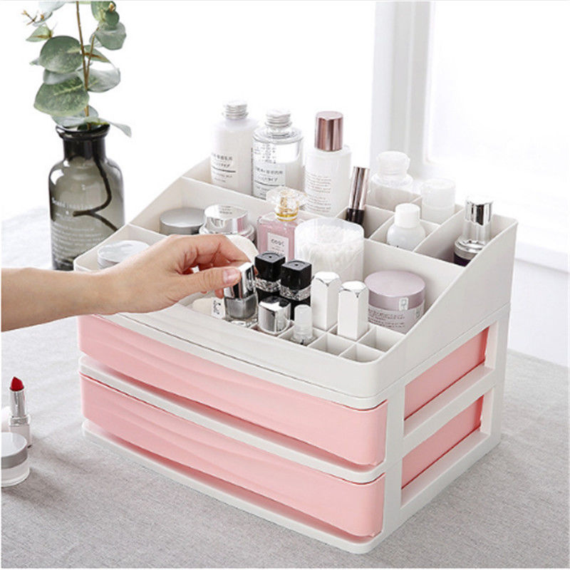 Image 2 - Plastic Cosmetic Drawer Makeup Organizer Makeup Storage Box Container Nail Casket Holder Desktop Sundry Storage Case-in Storage Boxes & Bins from Home & Garden