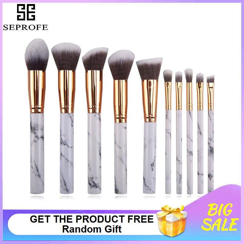 10 pçs escova de maquiagem de mármore ferramenta de beleza punho branco preto cabelo pincéis de maquiagem kits blush bulk pó sombra olho destaque escova