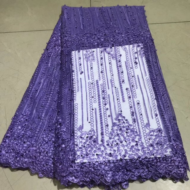 African Lace Fabric With Beads 2019 Latest Design High Quality Purple Swiss Voile Lace Fabrics For Dress French Nigerian Lace