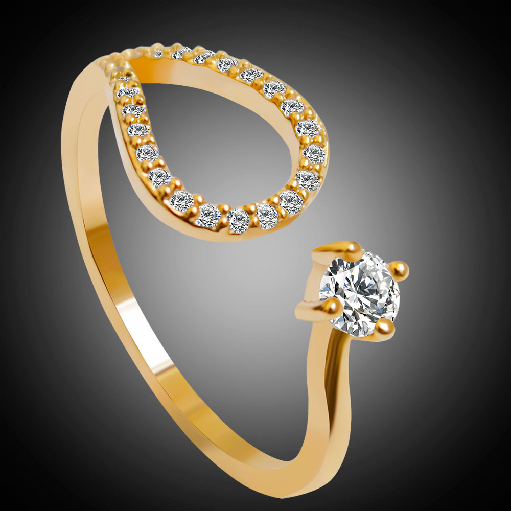 Hesiod New Design Gold Silver Color Women Ring Austria Crystal ...