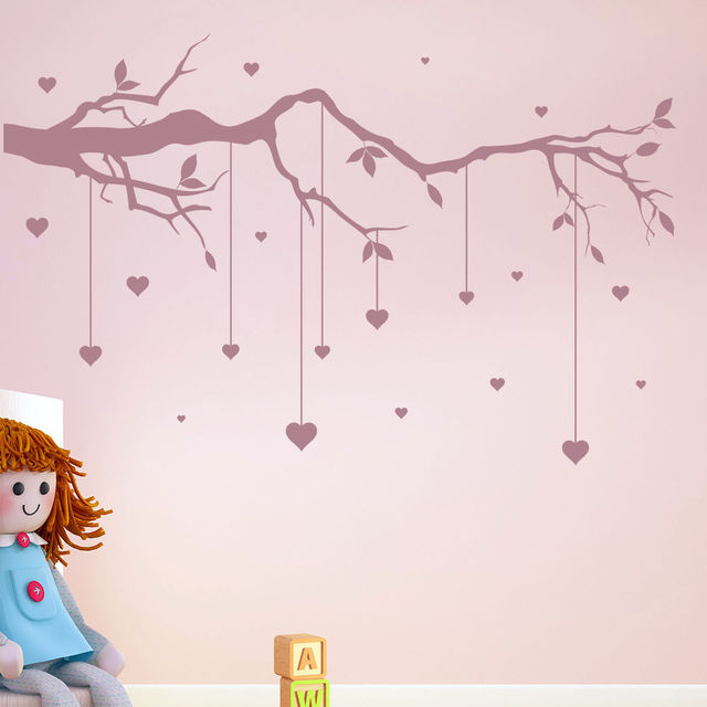 Tree Branch Cot Mobile Wall Stickers Heart Decal Baby Nursery Decor New Arrivals Wallpaper High