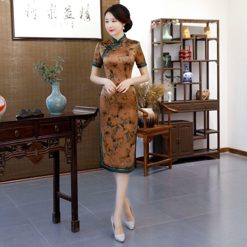 Grande taille Cheongsam genou Leng Style chinois traditionnel femmes robe en soie Slim Qipao nouveauté Vestido M L XL XXL 3XL 4XL 9990