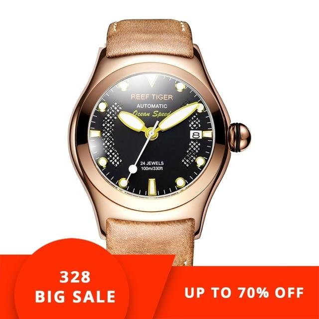 Reef Tiger/RT Rose Gold Sport Watches Men's Black Skeleton Dial Luminous Self-winding Watches RGA704