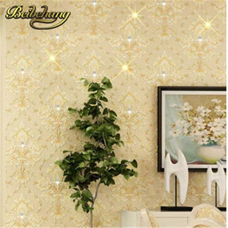 beibehang Luxury European Style Damascus Wallpaper Diamond Embossed Flocking Non-woven Living Room Sofa Tv Background Wallcoveri
