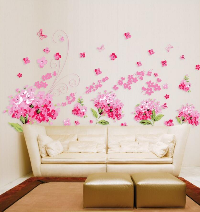 High quality flower Para Para Sakura DIY Removable Art Vinyl Wall Stickers Decor Mural Decal AY957 in Wall Stickers from Home Garden