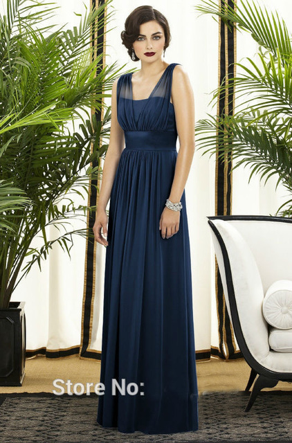 Elegant Simple Navy Blue Long Bridesmaid Dresses 2016 Scoop A Line Chiffon Pleat Women Formal Guest