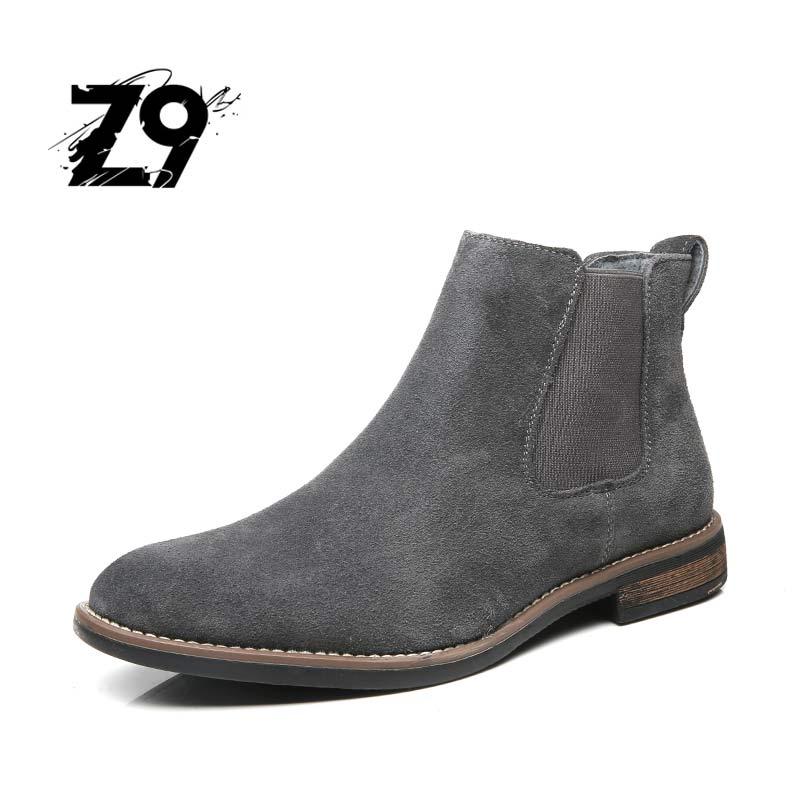 Z9 новый стиль, мужская обувь замшевые зимние кожаные мужские сапоги Высокое качество Повседневная Удобная обувь Размер 40-45 бесплатная дост...