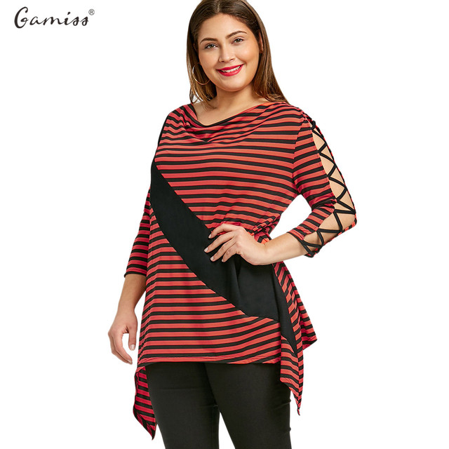32dcad38fc00b Gamiss Women Plus Size Striped Blouses Hollow Out Three Quarter Female Shirts  Tops Cowl Neck Fashion Casual Oversize Women Shirt