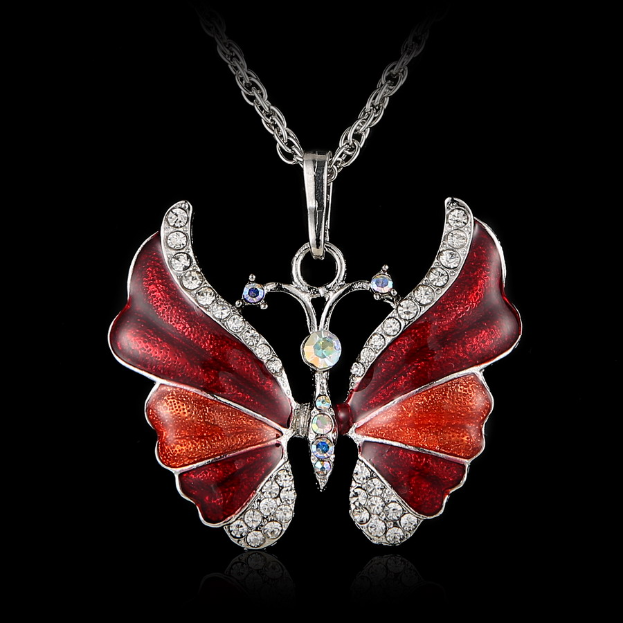 Crystal Vintage butterfly necklace for Women Jewelry Antique fly Animal Necklace Pendant Long Necklace epacket drop