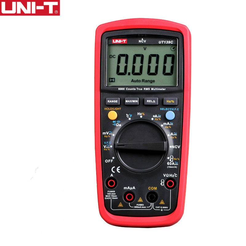 UNI T UT139C Digital Multimeter Auto Range True RMS Meter Handheld Tester 6000 Count Voltmeter Temperature