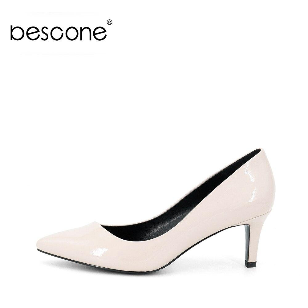 BESCONE 2019 las nuevas mujeres de bombas de cuero genuino de noble piel de oveja 5,5 cm tacones cómodos de las mujeres clásico carrera zapatos a67