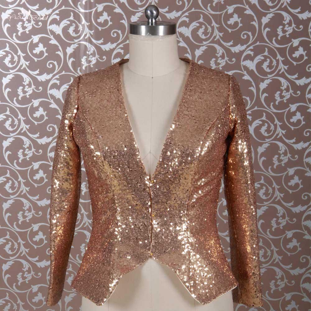 RSJ23 Long Sleeve Jacket Gold Sequin Bolero For Women-in Wedding ... 4285f564e