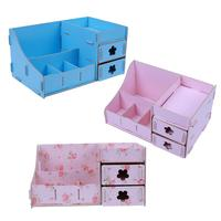 Cosmetic Jewelry Organizer Wood Office Storage Drawer Desk Makeup Case Plastic Makeup Brush Box Lipstick Remote