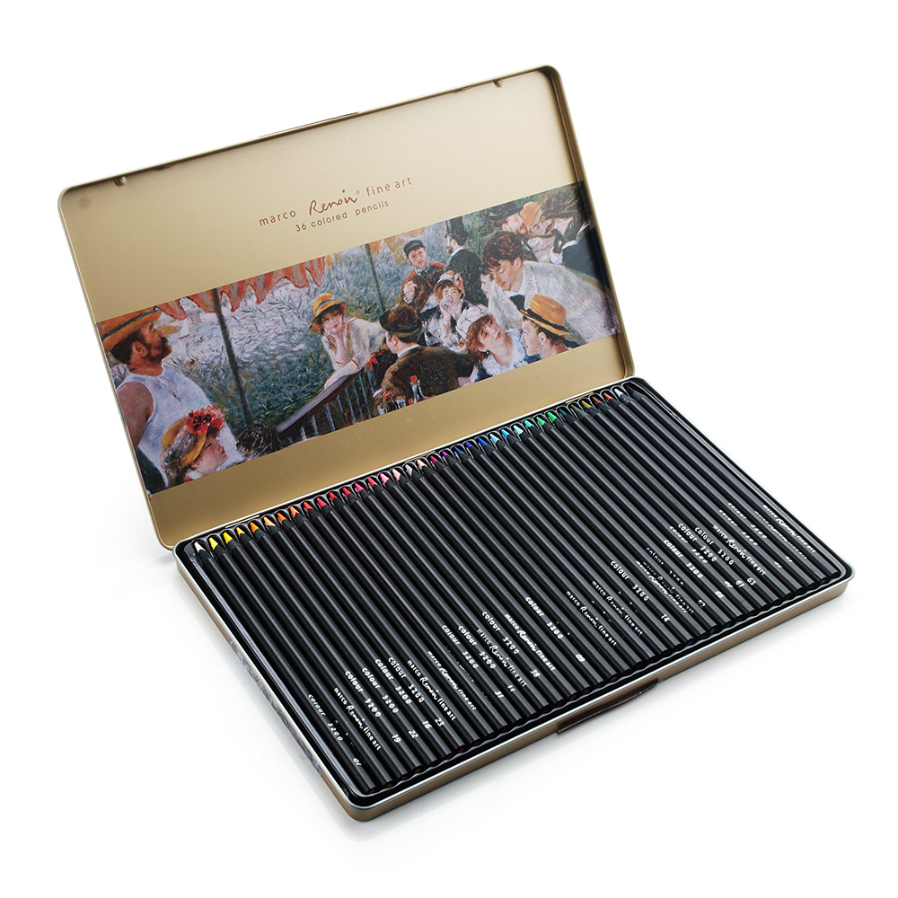 Marco Renoir 3200-36TN Art Painting Pencils 36 Colored Set in Tin for Sketching Drawing Coloring