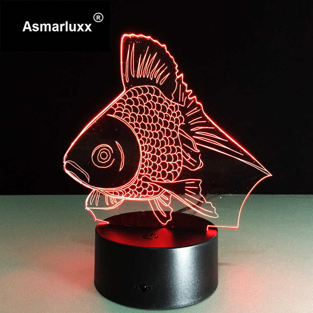 Gold Fish LED Night Light USB Powered LED Color Change 3D Decor Lamp For Children Bedroom Lighting Toys Xmas Kids Gift Decor LED