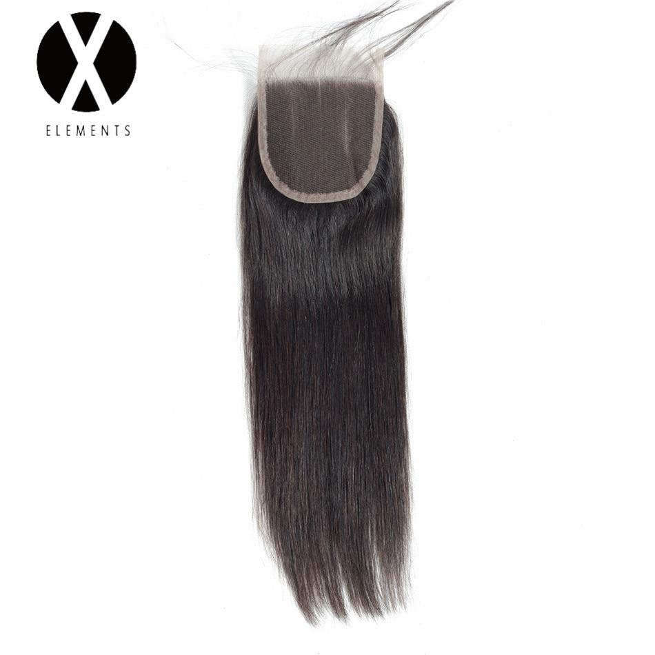 X-Elements Hair 4 * 4 Closure 1 Piece Extensions Peruvian Mänska - Mänskligt hår (svart)