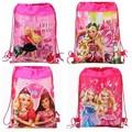 12Pcs Barbie Princess Drawstring Boys Girls Cartoon School Bag Children Printing School Backpacks Gifts for Birthday Party Bags