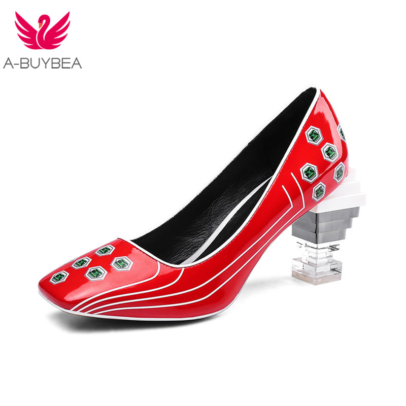 New Patent Leather Pigskin Printting Women Pumps Slip-on Strange Crystal Heels Women Spring Shoes Ladies Office High Heel Shoes New Patent Leather Pigskin Printting Women Pumps Slip-on Strange Crystal Heels Women Spring Shoes Ladies Office High Heel Shoes