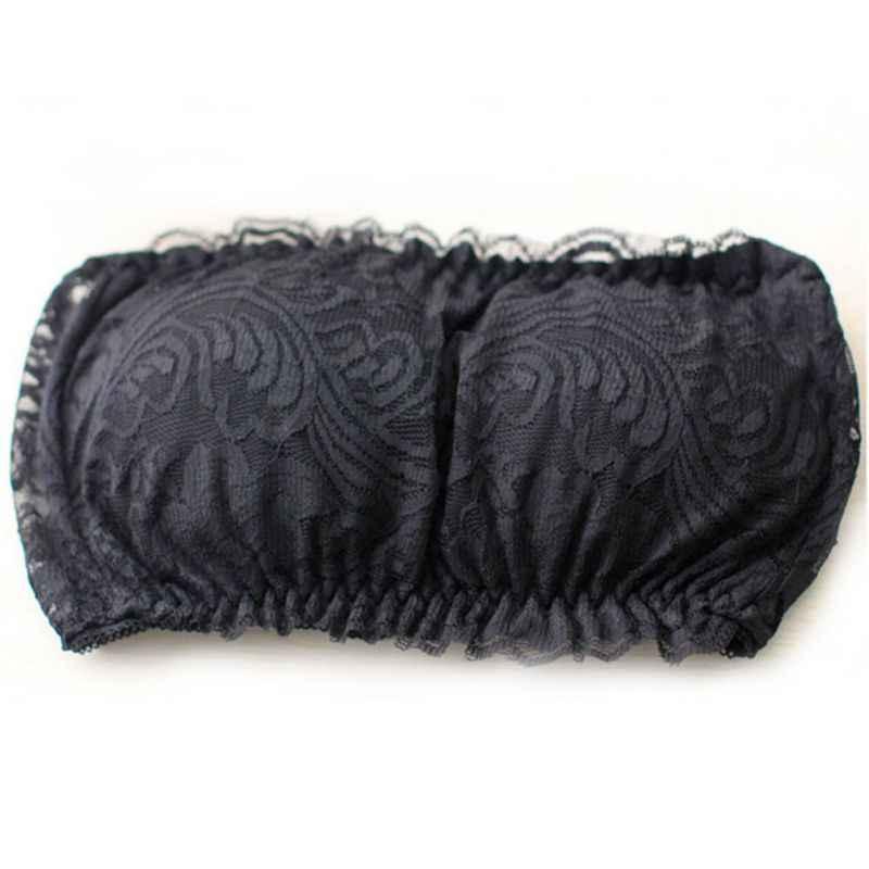 Black Sexy Bra Sets Lace Patchwork Tube Top + Panties Women Solid Underwear Fashion Lace Wireless Bra Briefs Set 2019 White