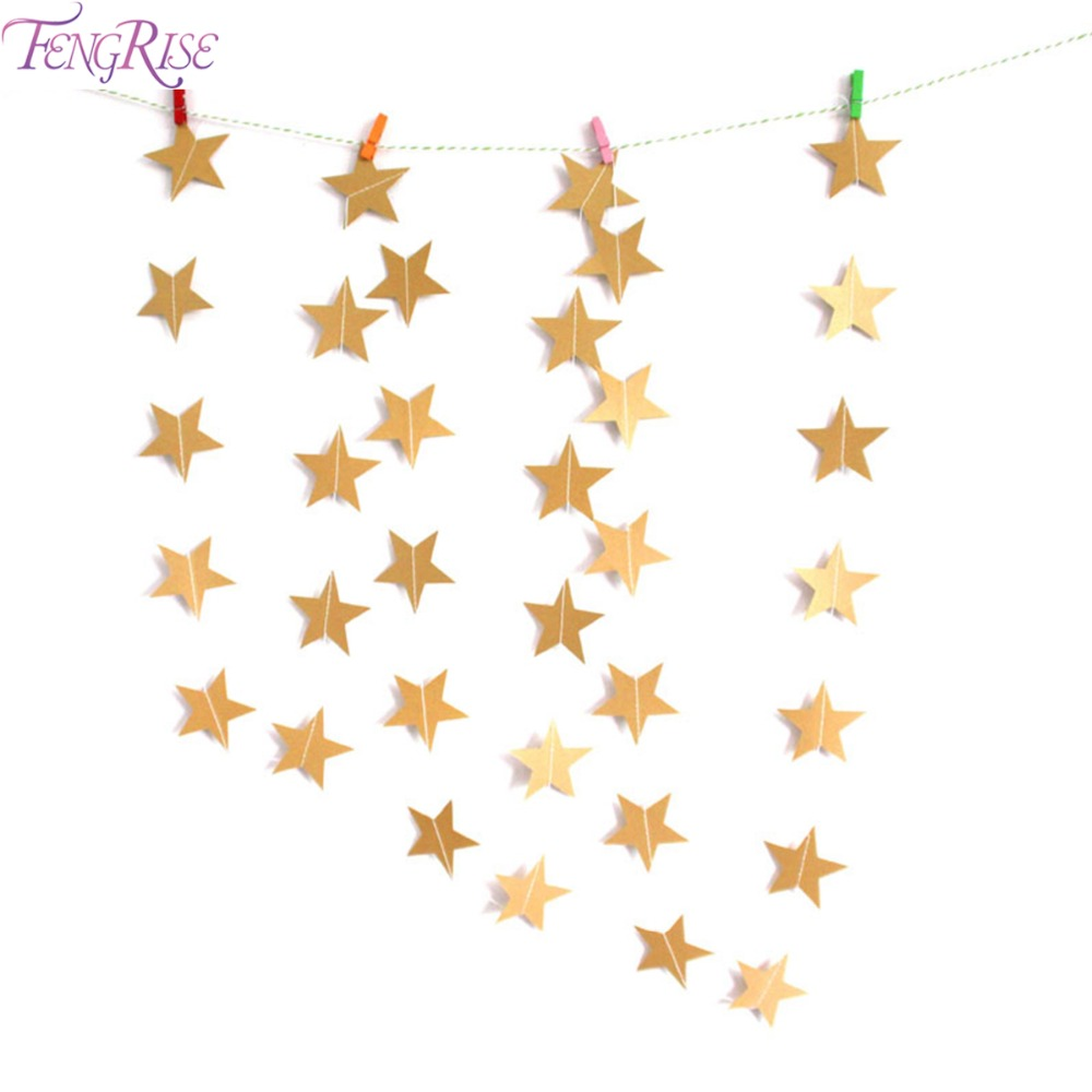 Gold star ornaments - Fengrise 2m Gold Star Garland Sparkle Wedding Banner Birthday Party Kids Room Home Decoration Accessories